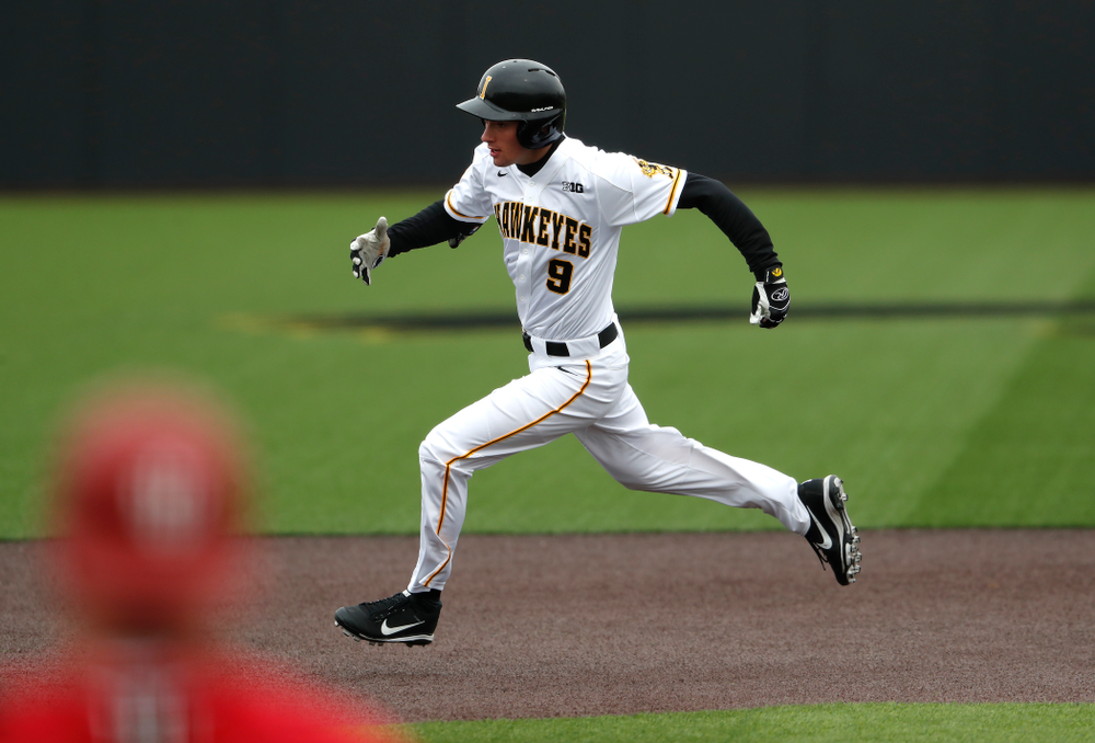 Iowa Hawkeyes outfielder Ben Norman (9) during a double header against the Indiana Hoosiers Friday, March 23, 2018 at Duane Banks Field. (Brian Ray/hawkeyesports.com)