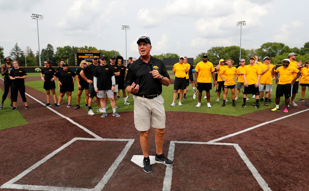Director of Athletics Gary Barta during the Iowa Student Athlete Kickoff Kickball game  Sunday, August 19, 2018 at Duane Banks Field. (Brian Ray/hawkeyesports.com)