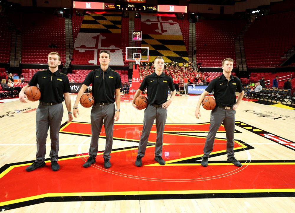 The Iowa Women's Basketball Managers against the Maryland Terrapins Thursday, February 13, 2020 at the Xfinity Center in College Park, MD. (Brian Ray/hawkeyesports.com)