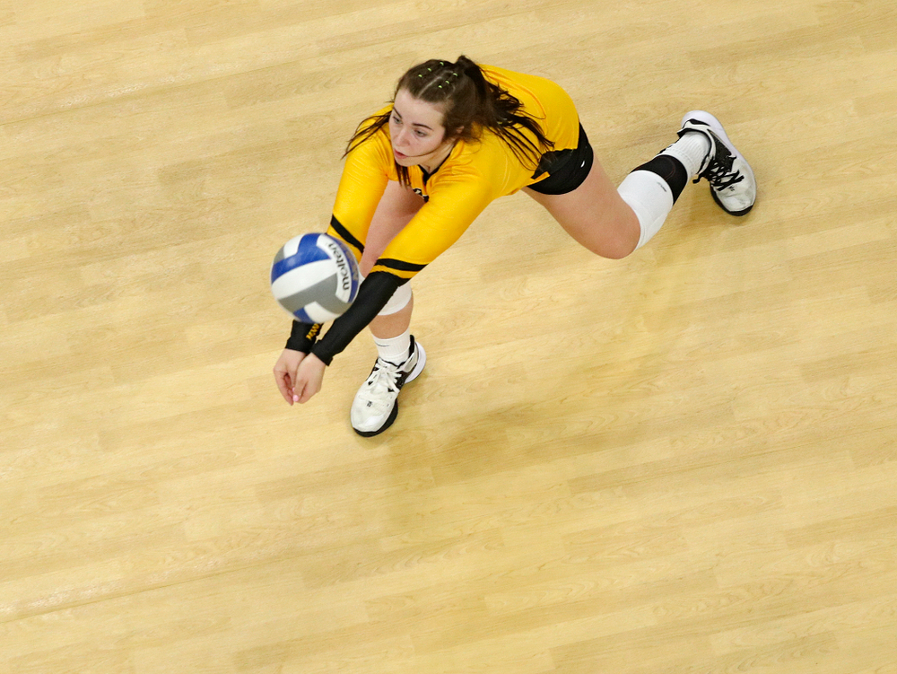 Iowa's Emma Lowes (6) reaches the ball during the fourth set of their match at Carver-Hawkeye Arena in Iowa City on Friday, Nov 29, 2019. (Stephen Mally/hawkeyesports.com)