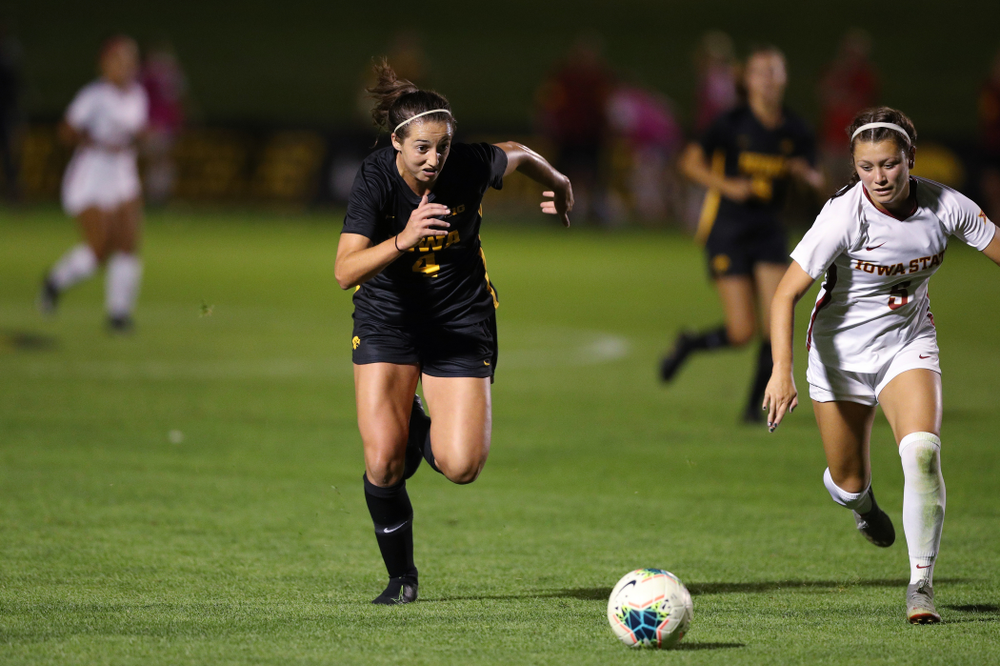 Iowa Hawkeyes forward Kaleigh Haus (4) during a 2-1 victory over the Iowa State Cyclones Thursday, August 29, 2019 in the Iowa Corn Cy-Hawk series at the Iowa Soccer Complex. (Brian Ray/hawkeyesports.com)