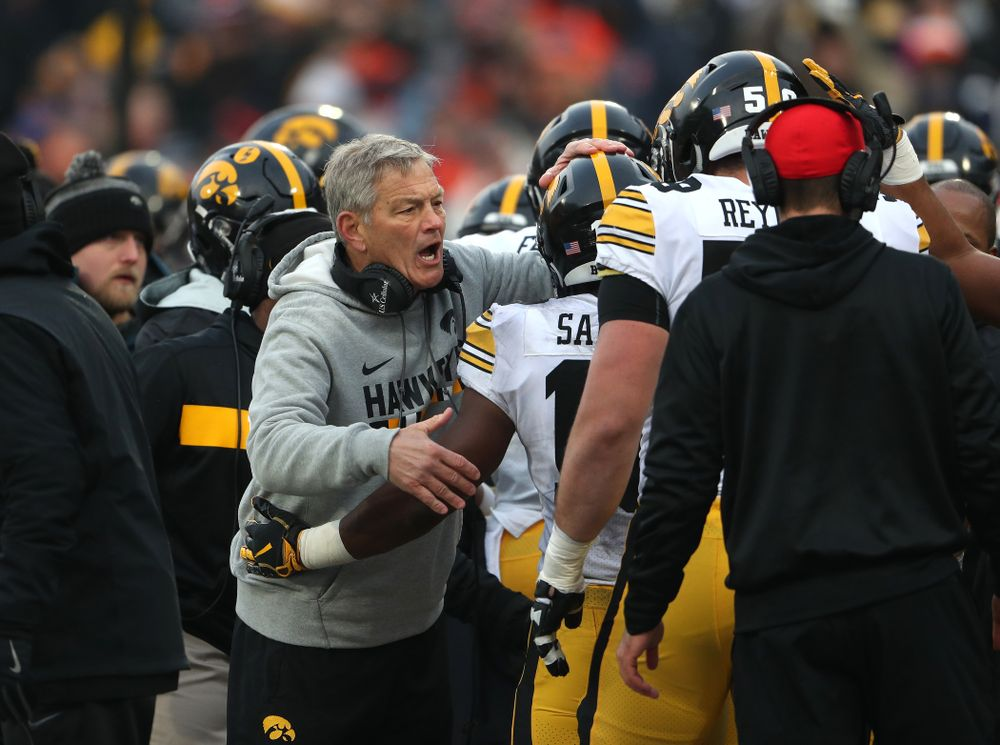 Iowa Hawkeyes head coach Kirk Ferentz against the Illinois Fighting Illini Saturday, November 17, 2018 at Memorial Stadium in Champaign, Ill. (Brian Ray/hawkeyesports.com)