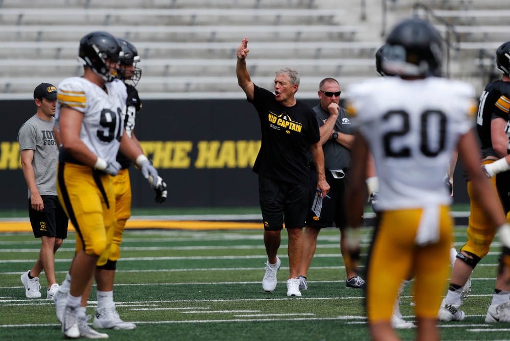 Iowa Hawkeyes head coach Kirk Ferentz during Kids Day Saturday, August 11, 2018 at Kinnick Stadium. (Brian Ray/hawkeyesports.com)