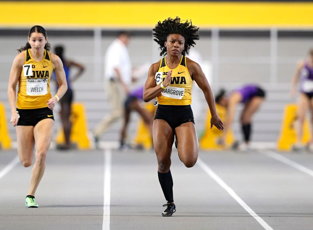 Iowa's Lasarah Hargrove runs the women's 60 meter dash event at the Black and Gold Invite at the Recreation Building in Iowa City on Saturday, February 1, 2020. (Stephen Mally/hawkeyesports.com)