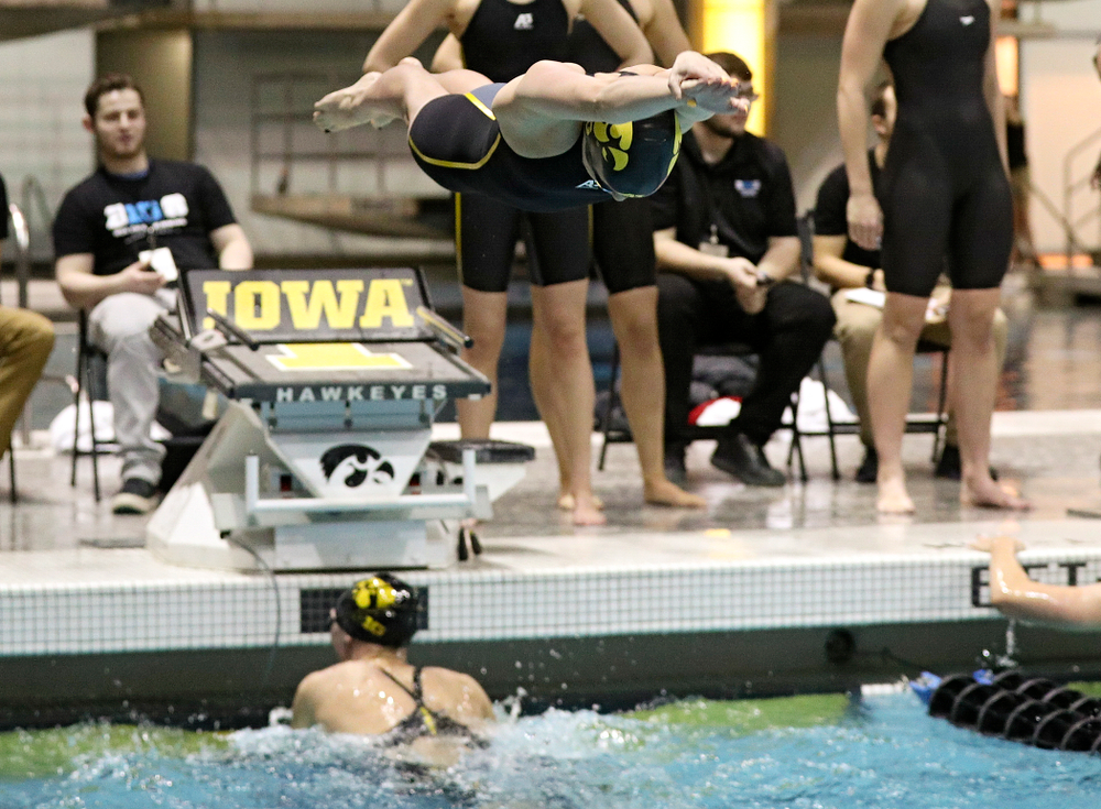 Iowa's Kennedy Gilbertson swims the women's 400 yard freestyle relay event during the 2020 Women's Big Ten Swimming and Diving Championships at the Campus Recreation and Wellness Center in Iowa City on Saturday, February 22, 2020. (Stephen Mally/hawkeyesports.com)