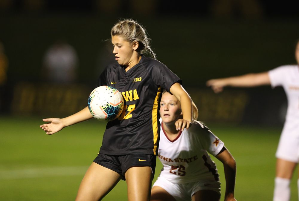 Iowa Hawkeyes forward Gianna Gourley (32) during a 2-1 victory over the Iowa State Cyclones Thursday, August 29, 2019 in the Iowa Corn Cy-Hawk series at the Iowa Soccer Complex. (Brian Ray/hawkeyesports.com)