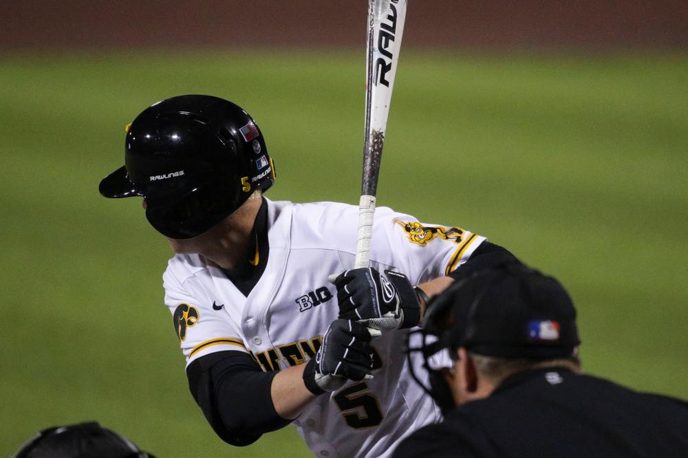 Iowa outfielder Zeb Adreon  at game 1 vs Rutgers on Friday, April 5, 2019 at Duane Banks Field. (Lily Smith/hawkeyesports.com)