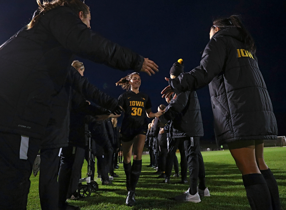 Iowa forward Devin Burns (30) is introduced before their match at the Iowa Soccer Complex in Iowa City on Friday, Oct 11, 2019. (Stephen Mally/hawkeyesports.com)