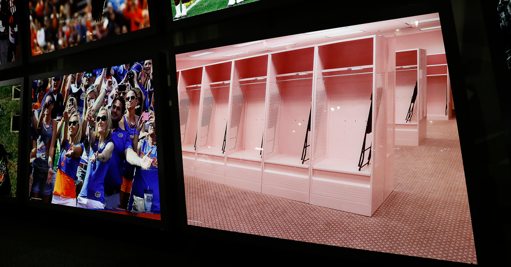 Iowa's visiting team pink locker room photo at the College Football Hall of Fame.