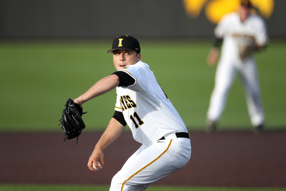 Iowa Hawkeyes Cole McDonald (11) during game one against UC Irvine Friday, May 3, 2019 at Duane Banks Field. (Brian Ray/hawkeyesports.com)
