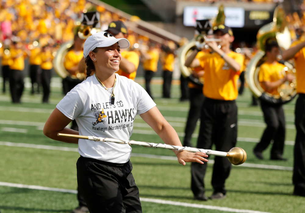Hawkeye Marching Band drum major Analisa Iole against the Northern Illinois Huskies Saturday, September 1, 2018 at Kinnick Stadium. (Brian Ray/hawkeyesports.com)