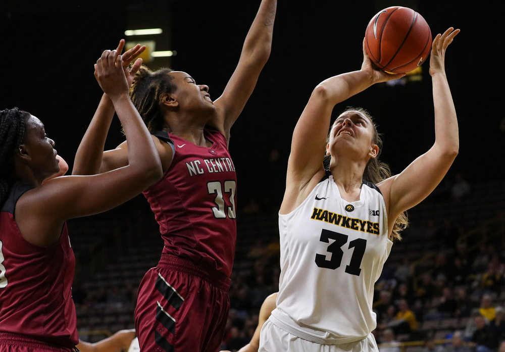 Iowa Hawkeyes forward Paula Valino Ramos (31) puts up a shot during a game against North Carolina Central at Carver-Hawkeye Arena on November 17, 2018. (Tork Mason/hawkeyesports.com)