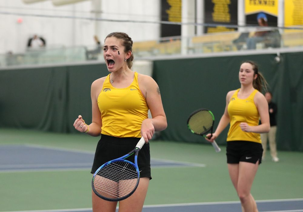 Iowa's Sophie Clark and Samantha Mannix against the Iowa State Cyclones Friday, February 8, 2019 at the Hawkeye Tennis and Recreation Complex. (Brian Ray/hawkeyesports.com)