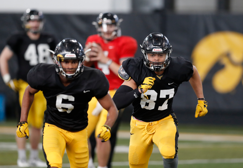 Iowa Hawkeyes tight end Noah Fant (87) during spring practice  Thursday, March 29, 2018 at the Hansen Football Performance Center. (Brian Ray/hawkeyesports.com)