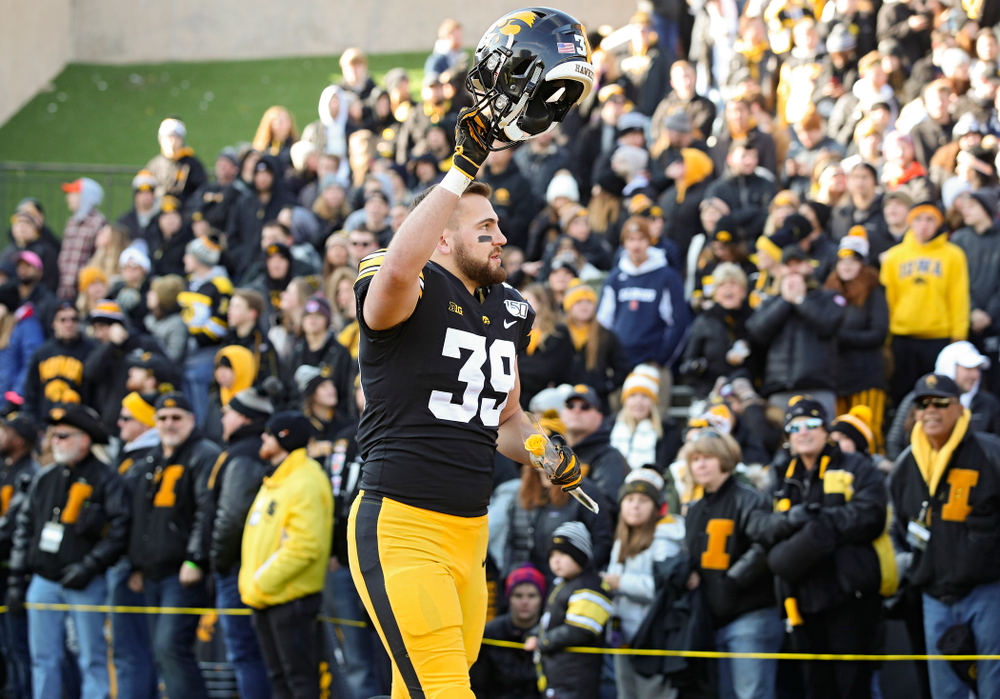 Iowa Hawkeyes tight end Nate Wieting (39) is acknowledged on senior day before their game at Kinnick Stadium in Iowa City on Saturday, Nov 23, 2019. (Stephen Mally/hawkeyesports.com)