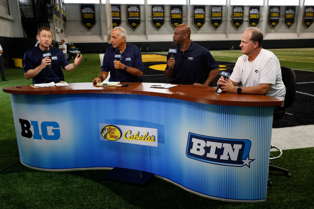 Iowa Hawkeyes defensive coordinator Phil Parker on the Big Ten Network set Monday, August 20, 2018 at the Hansen Football Performance Center. (Brian Ray/hawkeyesports.com)
