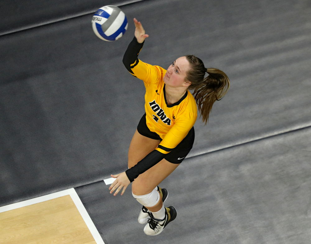 Iowa's Joslyn Boyer (1) serves the ball during the fourth set of their match at Carver-Hawkeye Arena in Iowa City on Friday, Nov 29, 2019. (Stephen Mally/hawkeyesports.com)