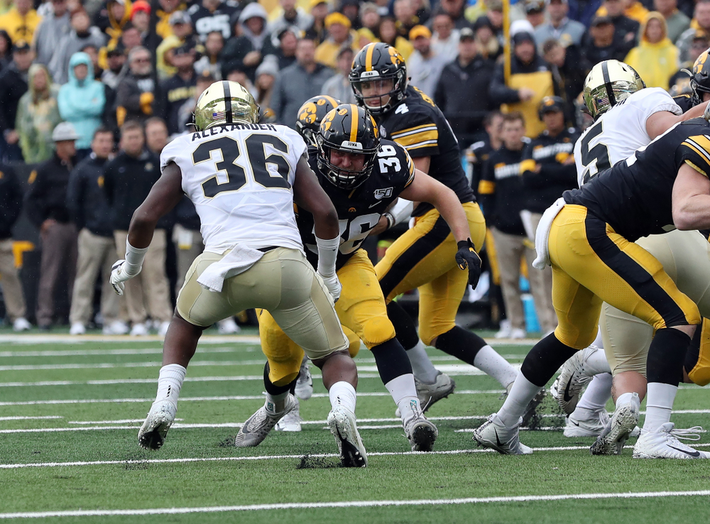 Iowa Hawkeyes fullback Brady Ross (36) against the Purdue Boilermakers Saturday, October 19, 2019 at Kinnick Stadium. (Brian Ray/hawkeyesports.com)