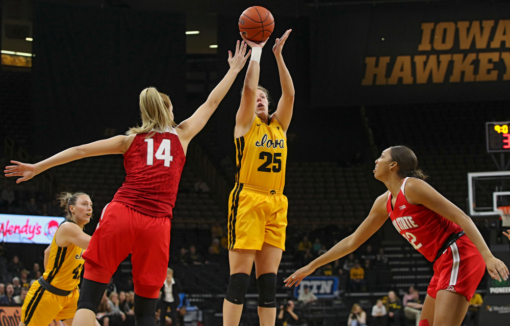 Iowa Hawkeyes forward Monika Czinano (25) makes a basket during the first quarter of their game at Carver-Hawkeye Arena in Iowa City on Thursday, January 23, 2020. (Stephen Mally/hawkeyesports.com)