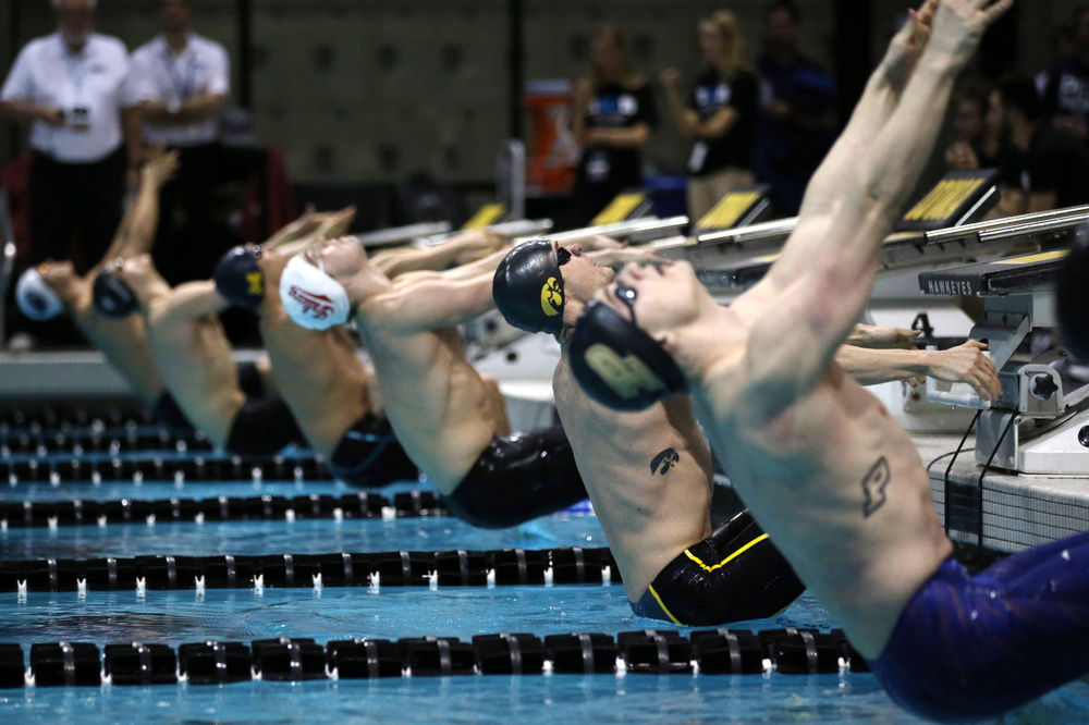 Iowa's Kenneth Mende at the 100-yard backstroke race  Friday, March 1, 2019 at the Campus Recreation and Wellness Center. (Lily Smith/hawkeyesports.com)