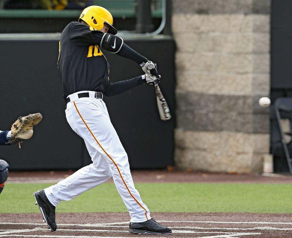 Iowa Hawkeyes left fielder Connor McCaffery (30) drives a pitch for a hit during the second inning of their game against Illinois at Duane Banks Field in Iowa City on Saturday, Mar. 30, 2019. (Stephen Mally/hawkeyesports.com)