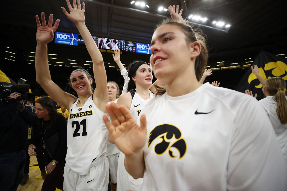 Iowa Hawkeyes forward Hannah Stewart (21) against the Nebraska Cornhuskers Thursday, January 3, 2019 at Carver-Hawkeye Arena. (Brian Ray/hawkeyesports.com)