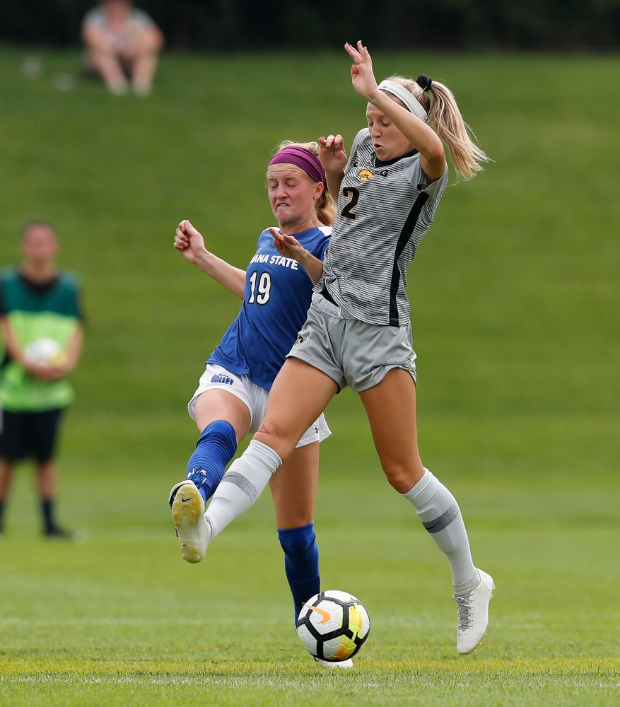Iowa Hawkeyes Hailey Rydberg (2) against Indiana State Sunday, August 26, 2018 at the Iowa Soccer Complex. (Brian Ray/hawkeyesports.com)