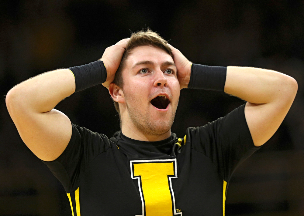 An Iowa Spirit Squad member reacts after throwing a t-shirt during the second half of their their game at Carver-Hawkeye Arena in Iowa City on Sunday, December 29, 2019. (Stephen Mally/hawkeyesports.com)