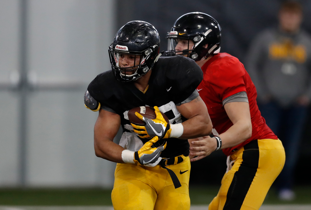 Iowa Hawkeyes running back Toren Young (28) during spring practice  Thursday, March 29, 2018 at the Hansen Football Performance Center. (Brian Ray/hawkeyesports.com)