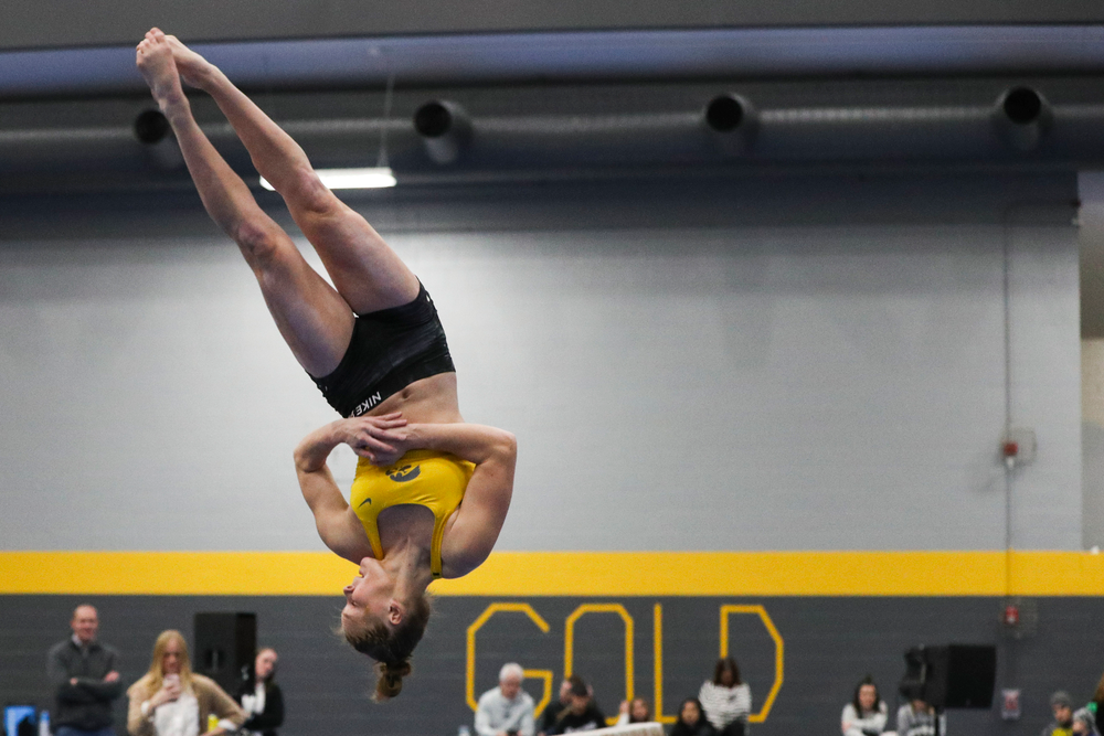 Allyson Steffensmeier performs on the beam during the Iowa women's gymnastics Black and Gold Intraquad Meet on Saturday, December 7, 2019 at the UI Field House. (Lily Smith/hawkeyesports.com)