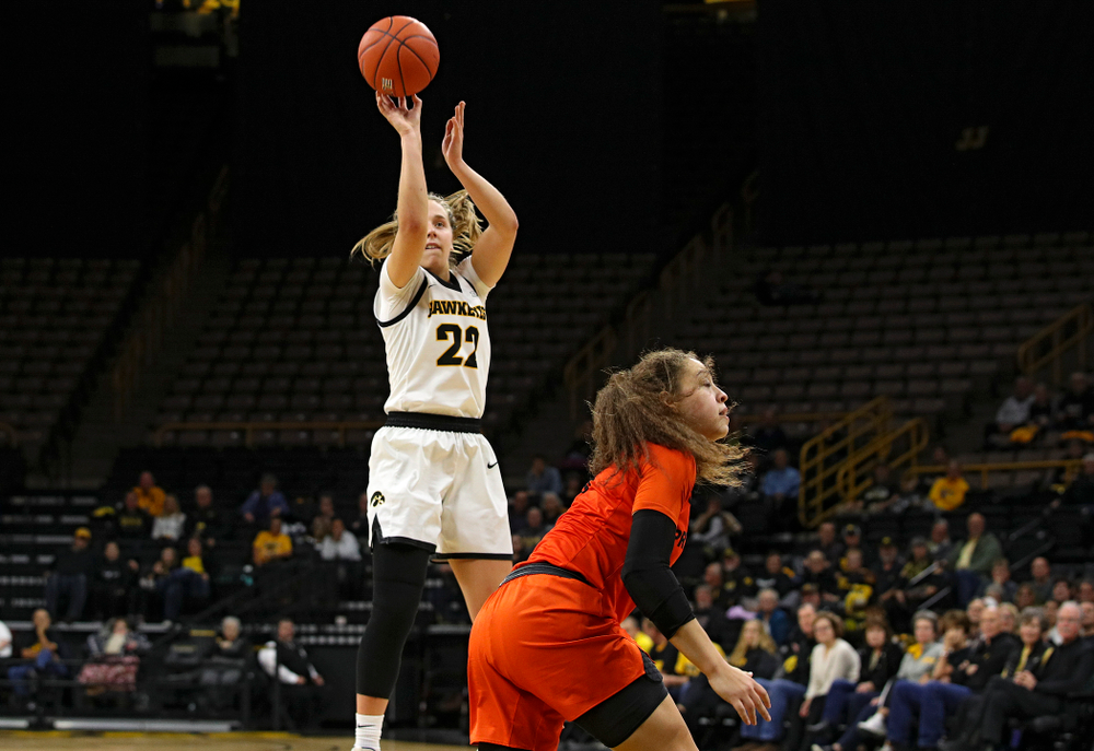 Iowa guard Kathleen Doyle (22) scores a basket during the second quarter of their overtime win against Princeton at Carver-Hawkeye Arena in Iowa City on Wednesday, Nov 20, 2019. (Stephen Mally/hawkeyesports.com)
