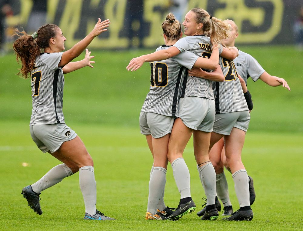 Iowa midfielder Hailey Rydberg (2) celebrates with her teammates after scoring a goal during the first half of their match at the Iowa Soccer Complex in Iowa City on Sunday, Sep 29, 2019. (Stephen Mally/hawkeyesports.com)