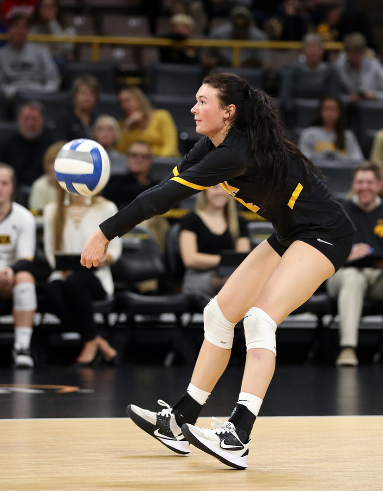 Iowa Hawkeyes defensive specialist Halle Johnston (4) against Penn State Friday, November 1, 2019 at Carver Hawkeye Arena. (Brian Ray/hawkeyesports.com)