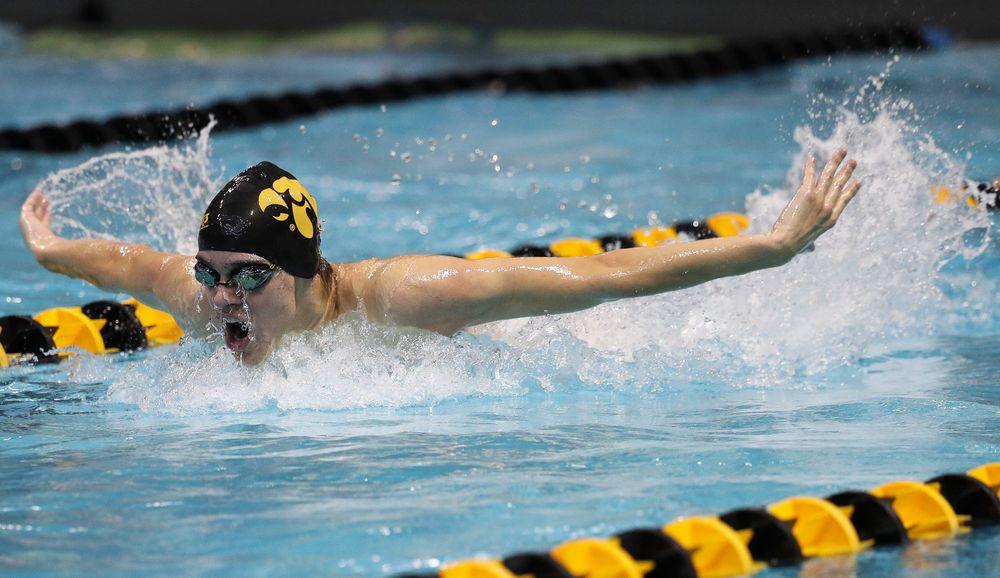 Iowa's Matjaz Rozman competes in the 400-yard medley relay during a meet against Michigan and Denver at the Campus Recreation and Wellness Center on November 3, 2018. (Tork Mason/hawkeyesports.com)