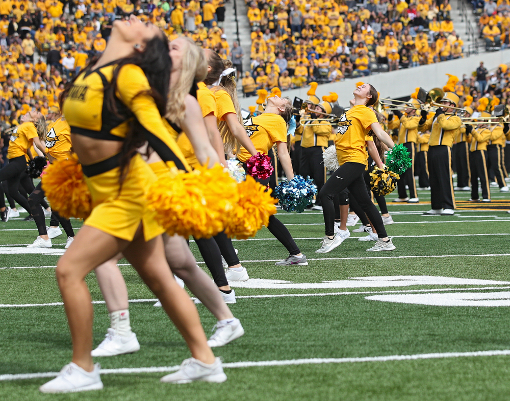 Spirit Squad Day performers on the field during halftime of their game at Kinnick Stadium in Iowa City on Saturday, Sep 28, 2019. (Stephen Mally/hawkeyesports.com)
