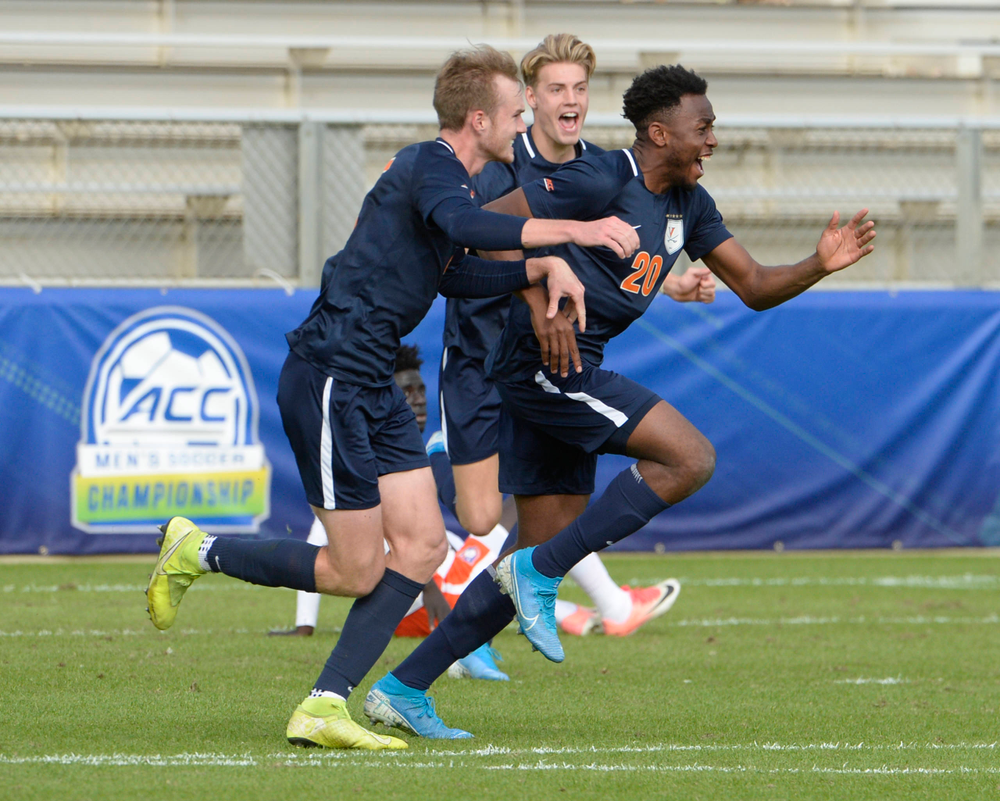 Virginia's Cabrel Happi Kamseu (20) celebrates his goal during the 2019 ACC Men?s Soccer Championship at WakeMed Soccer Park in Cary, N.C., Sunday Nov. 17, 2019. (Photo by Sara D. Davis, the ACC)