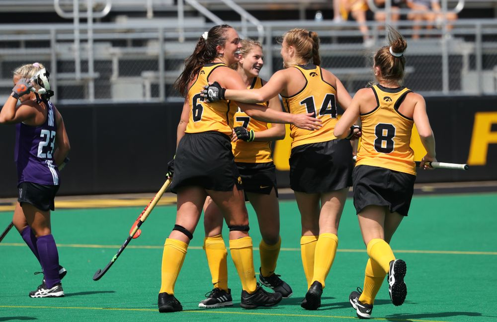 Iowa Hawkeyes defenseman Anthe Nijziel (6) celebrates after scoring a goal on a penalty corner during an exhibition game against Northwestern Saturday, August 24, 2019 at Grant Field. (Brian Ray/hawkeyesports.com)