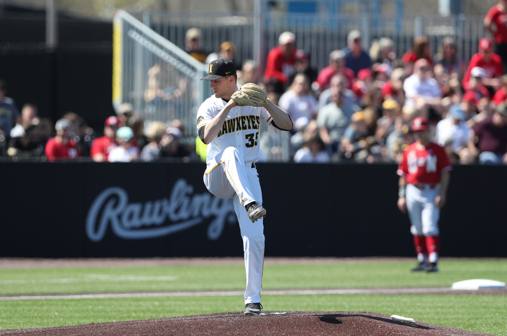 Iowa Hawkeyes Cam Baumann (35) against the Nebraska Cornhuskers Saturday, April 20, 2019 at Duane Banks Field. (Brian Ray/hawkeyesports.com)