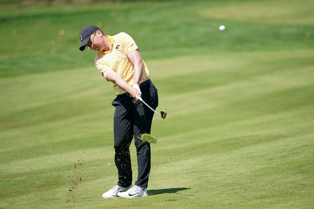 Iowa's Matthew Walker hits from the fairway during the third round of the Hawkeye Invitational at Finkbine Golf Course in Iowa City on Sunday, Apr. 21, 2019. (Stephen Mally/hawkeyesports.com)