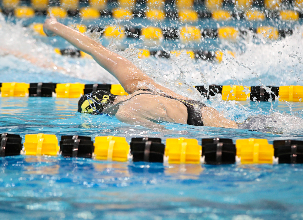 Iowa's Sarah Schemmel swims in the women's 200 yard freestyle relay event during the 2020 Women's Big Ten Swimming and Diving Championships at the Campus Recreation and Wellness Center in Iowa City on Friday, February 21, 2020. (Stephen Mally/hawkeyesports.com)
