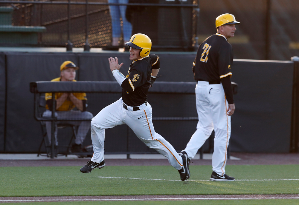 Iowa Hawkeyes catcher Tyler Cropley (5) against Milwaukee Wednesday, April 25, 2018 at Duane Banks Field. (Brian Ray/hawkeyesports.com)