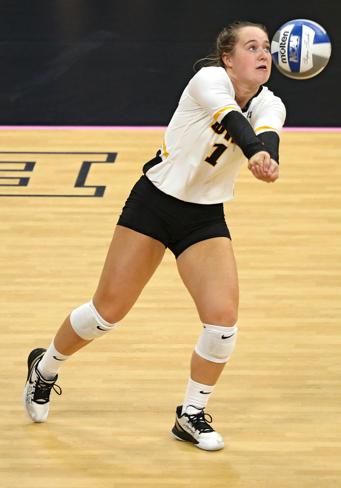 Iowa's Joslyn Boyer (1) eyes the ball during the third set of their volleyball match at Carver-Hawkeye Arena in Iowa City on Sunday, Oct 13, 2019. (Stephen Mally/hawkeyesports.com)