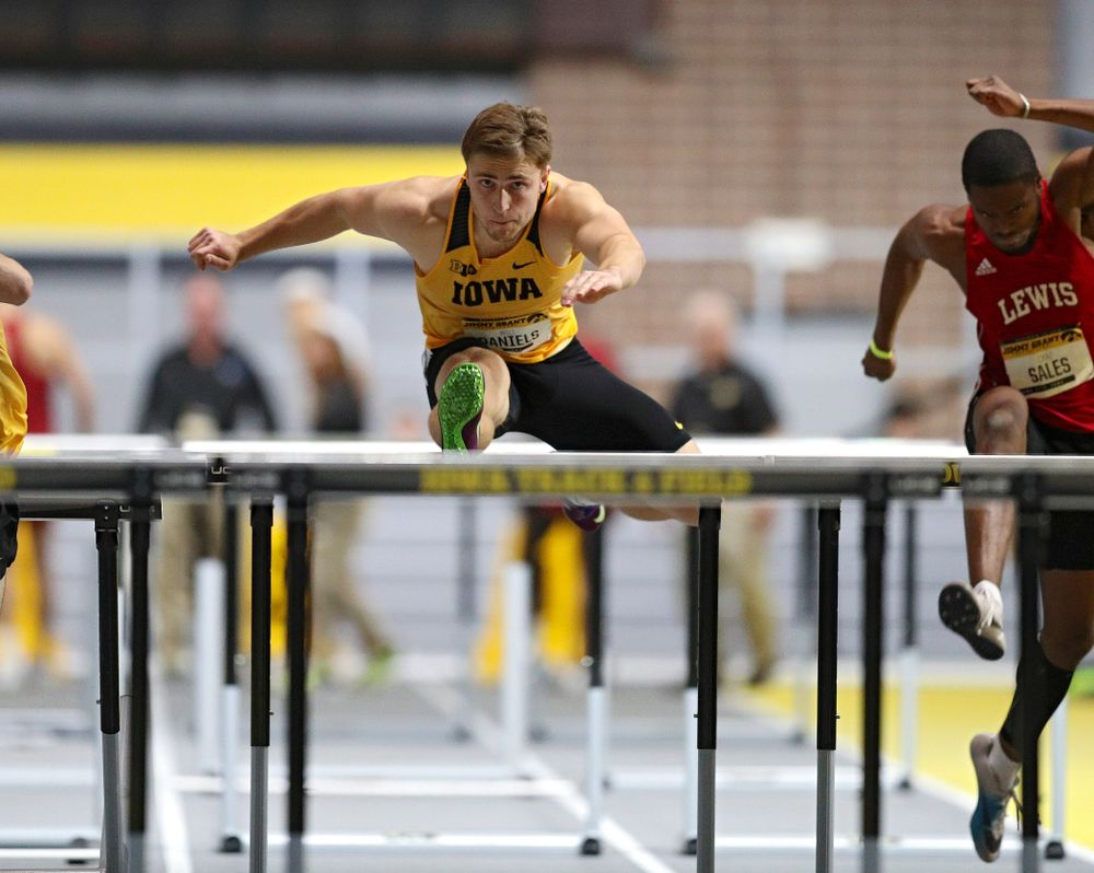 Iowa's Will Daniels competes in the men's 60 meter hurdles prelims event during the Jimmy Grant Invitational at the Recreation Building in Iowa City on Saturday, December 14, 2019. (Stephen Mally/hawkeyesports.com)