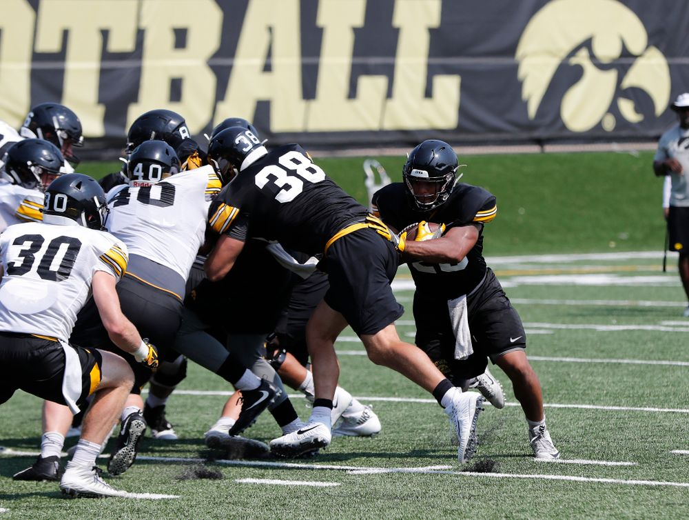 Iowa Hawkeyes running back Toren Young (28) during practice No. 7 of fall camp Friday, August 10, 2018 at the Kenyon Football Practice Facility. (Brian Ray/hawkeyesports.com)
