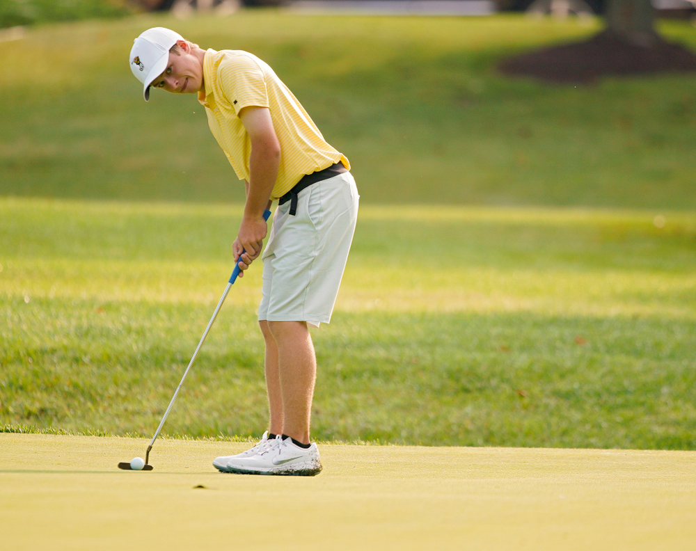 Iowa's Matthew Garside putts during the third day of the Golfweek Conference Challenge at the Cedar Rapids Country Club in Cedar Rapids on Tuesday, Sep 17, 2019. (Stephen Mally/hawkeyesports.com)