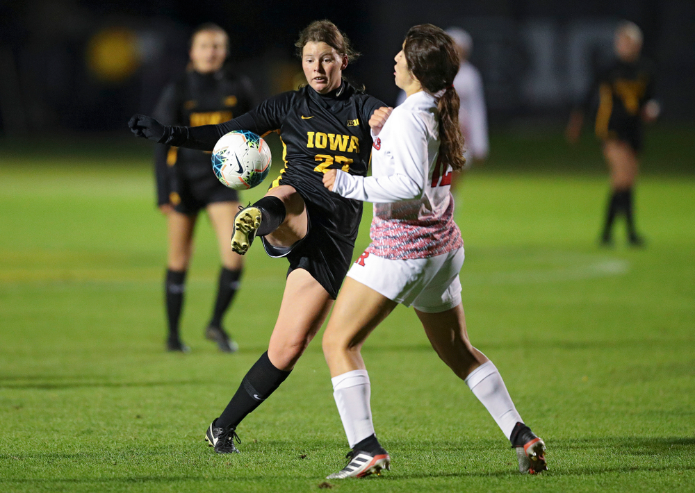 Iowa forward Samantha Tawharu (27) tries to pass during the first half of their match at the Iowa Soccer Complex in Iowa City on Friday, Oct 11, 2019. (Stephen Mally/hawkeyesports.com)