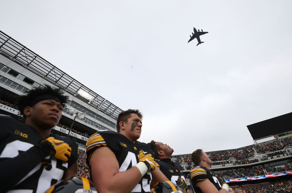 The flyover before the Iowa Hawkeyes game against the Nebraska Cornhuskers Friday, November 23, 2018 at Kinnick Stadium. (Brian Ray/hawkeyesports.com)