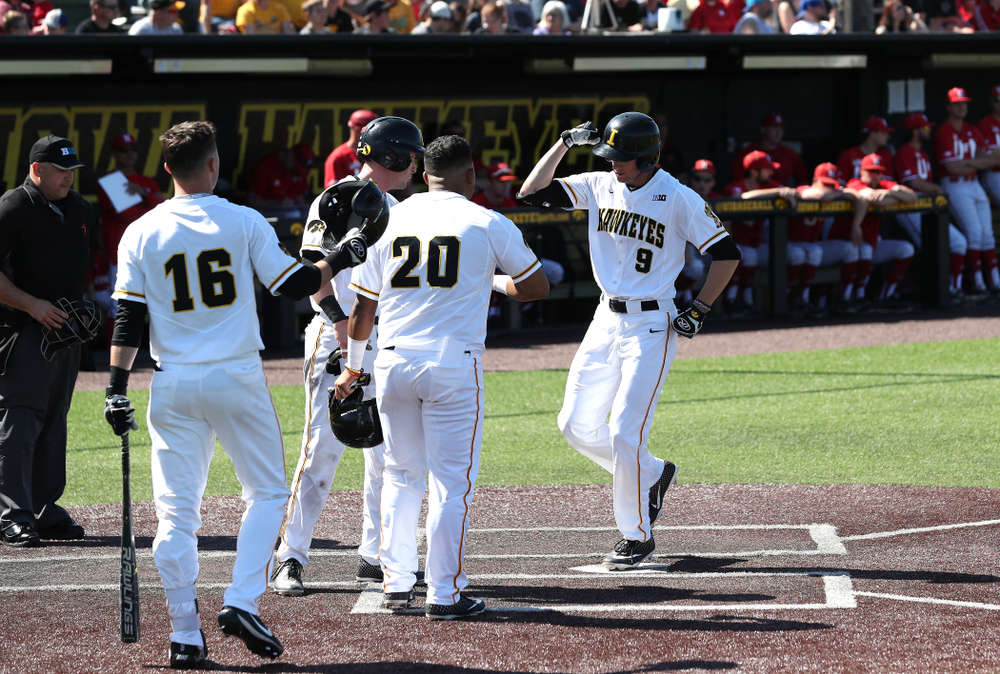 Iowa Hawkeyes outfielder Ben Norman (9) celebrates after hitting a home run against the Nebraska Cornhuskers Saturday, April 20, 2019 at Duane Banks Field. (Brian Ray/hawkeyesports.com)