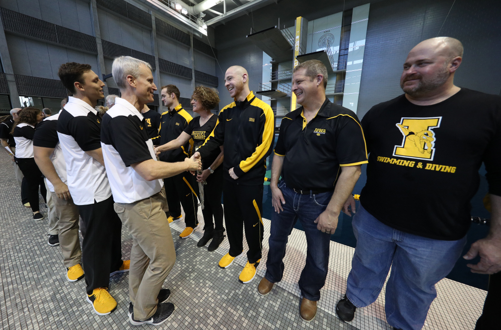 Head Coach Marc Long during senior day before a double dual against Wisconsin and Northwestern Saturday, January 19, 2019 at the Campus Recreation and Wellness Center. (Brian Ray/hawkeyesports.com)