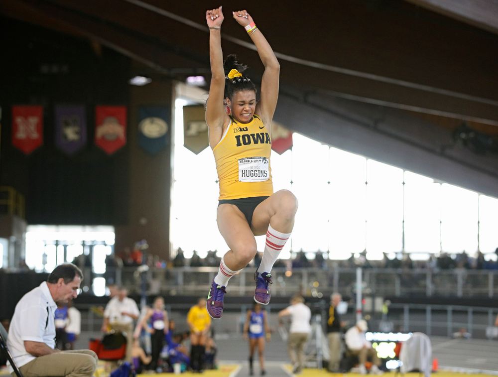 Iowa's Dallyssa Huggins competes in the women's long jump event at the Black and Gold Invite at the Recreation Building in Iowa City on Saturday, February 1, 2020. (Stephen Mally/hawkeyesports.com)